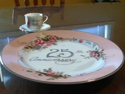 25th Anniversary Plate, Cup and Saucer