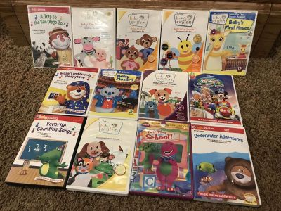 BABY GENIUS BABY EINSTEIN BARNEY MICKEY MOUSE CLUBHOUSE BABY TODDLER LEARNING DVD LOT OF 13 some better condition than others