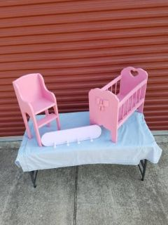 Vintage Doll Bed / Doll Highchair / Clothes Hanger ( Solid Wood )
