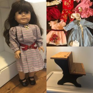 American Girl Doll Samantha with at least 6 outfits and desk
