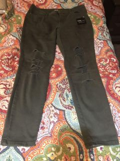 {PPU} WHITE HOUSE new just tried on OLIVE GREEN HOLEY sz 12 SKINNY A.N.A BRAND JEGGINGS