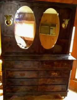Old dresser with mirror and lights