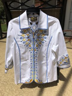 Bob Mackie White Zipper Jacket with Blue, Yellow with Gold TrimEmbroidery and Open Cut Outs - Size M - 3/4 Sleeves -Wearable Art - Like New