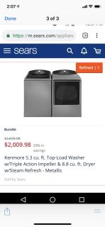 Kenmore washer and electric dryer 5.3 cu