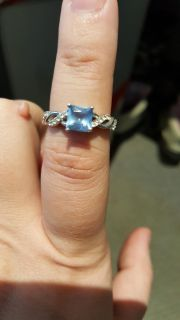 Jeulia S925 Sterling Silver Aquamarine ring