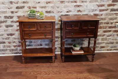 """Pair of New Accent Solid Hardwood Tables. Use as Nightstand or End Table. Each Has 3 Drawers & a Shelf. 23.5"""" W x 13"""" D x 30.75"""" H."""