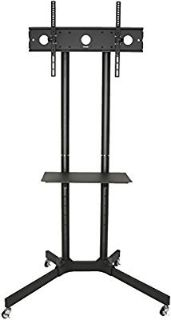 """Black TV Cart for LCD LED Plasma Flat Panel Stand w/Wheels Mobile fits 32"""" to 65"""""""