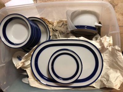Noritake White/Blue Stoneware Dinnerware for 12 Plus Serving Pieces