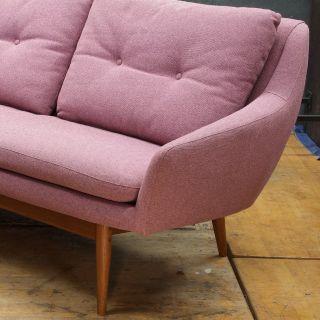 Danish 1960s Pink Teak Sofa Vintage Mid-Century
