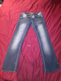 Angels jeans womans faded bootcut with sequent accents on back pocket size 7