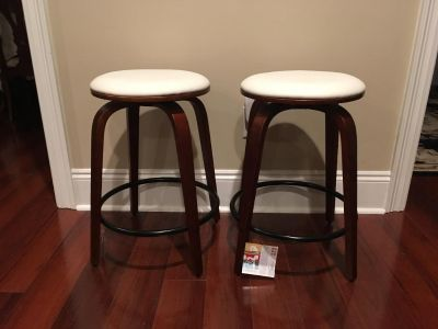New Set of Two Wood and Leather Counter Height Bar Stools