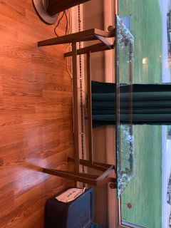 Glass and metal sofa table