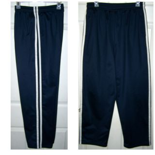 Size Medium - Men's Navy Blue with White Stripes Pull-on Pants, Athletic, Jogger, Track, Lounge