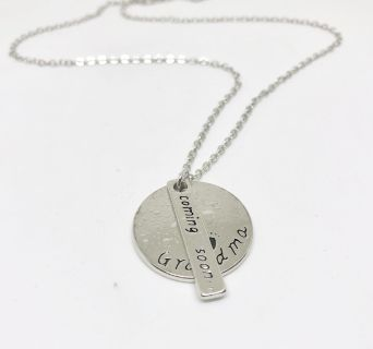 New Stamped Grandma Coming Soon Birth Announcement Necklace