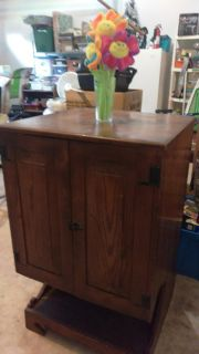 Barnwood cabinet wired for stereo, antique