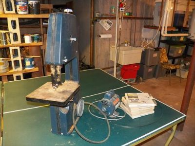 "Montgomery Ward 10"" Band Saw plus motor and 4 band"