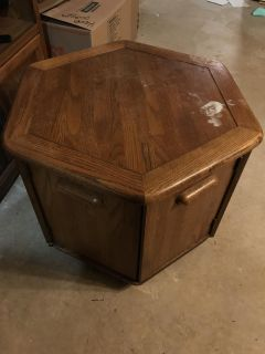 Hexagon side table with storage