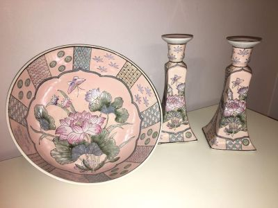 Antique bowl and candle holders