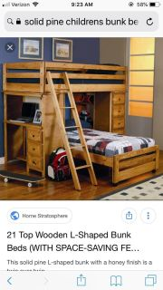 Solid pine bunk bed and leather couch leather love seat.