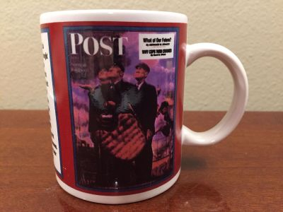 """Norman Rockwell Saturday Evening Post """"Three Umpire"""" Coffee Mug! Features April 23, 1949 Cover!"""
