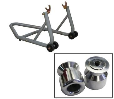 Buy Aluminum Silver Rear Stand w/ Aluminum Slider Spools Suzuki GSX-R1300 All-07 motorcycle in Ashton, Illinois, US, for US $94.89