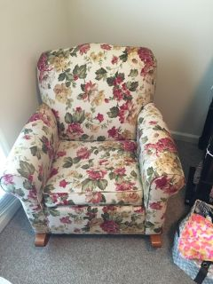 Beautiful Floral Fabric Rocking Chair