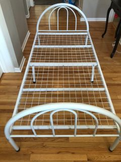 White Metal Twin Bed Frame