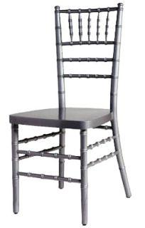 Silver Wood Chiavari Chair with Free Cushion - Chair Company Larry Hoffman