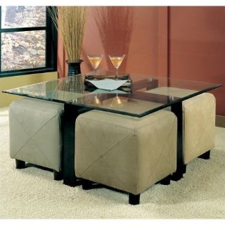 Contemporary Square Black Metal Base Glass Top Cocktail Table/ w 2 ottomans