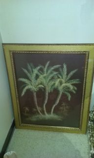 Palm trees picture in gold frame