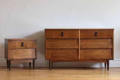 Mid Century Modern Walnut Dresser and Nightstand