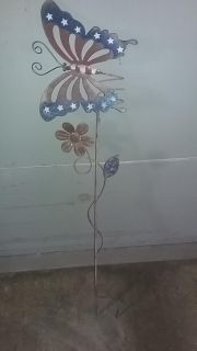 Red, white and blue 3 ft. butterfly outdoor stake