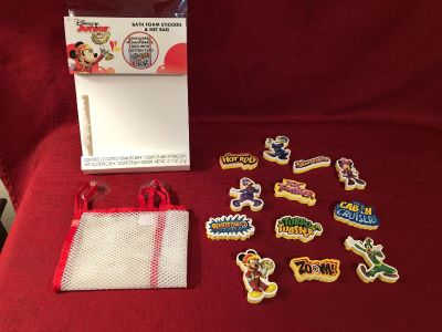 Disney Junior Bath Foam Stickers & Net Bag. 12 Stickers & Mesh Storage Bag With Suction Cups. Back of Stickers Written On