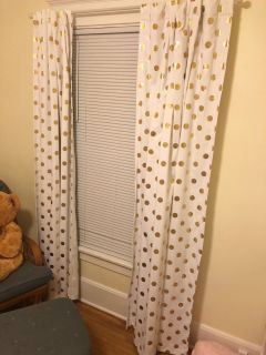White/ Gold Polka Dot Blackout Curtains