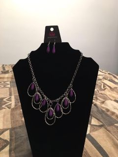 Tango Tempest Purple Necklace And Earrings