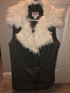 army green military vest with fur