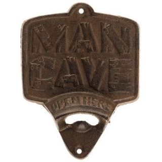 NEW! BROWN MAN CAVE CAST IRON BOTTLE OPENER