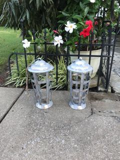 2 galvanized outdoor lanterns ( candles only)