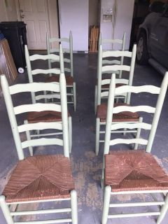 6 Green Dining Chairs
