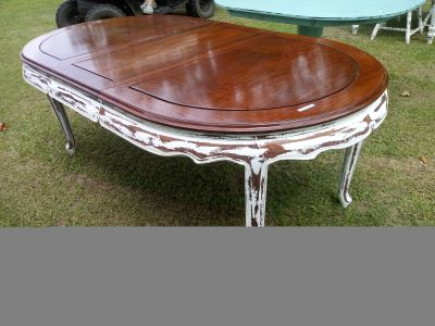 Stunning refinished solid wood large dining table