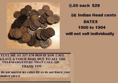 56 Indian Head cents sold together @ .50 each for $28.00
