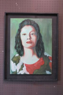Vintage Mid century oil painting of a woman