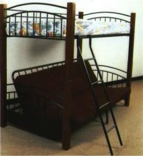 $239, Beautiful solid wood and metal-- twin over futon bunk bed