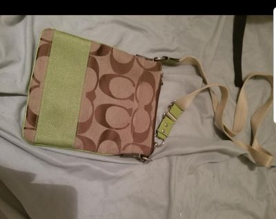 Coach Signature Tan & Lime Green Patent Leather Cross Body Bag