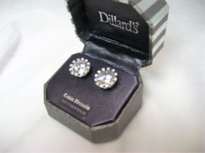 Dillard's Silver Tone Cubic Zirconia Earrings Stud Round Circle Post