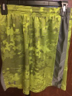 Used boys under armour neon yellow and grey shorts YL