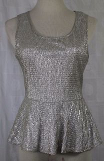 Silver Tank Small Top Women's Forever 21 Knit Club Party Rave NWT U.S.A.