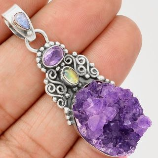 New - Natural Amethyst Druzy, Amethyst, Moonstone and Citrine Pendant (Includes a chain)