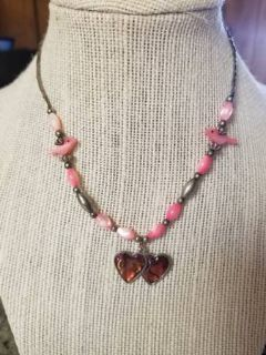 Cute Necklace with pink accents and a heart pendant