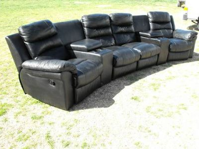 Beautiful Black Leather Sectional Couch